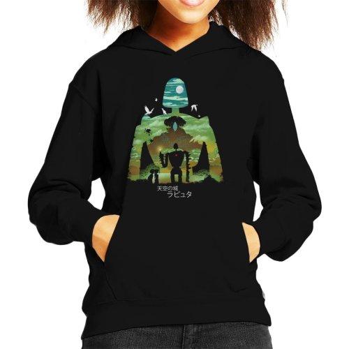 Laputa Castle In The Sky Robot Silhouette Kid's Hooded Sweatshirt
