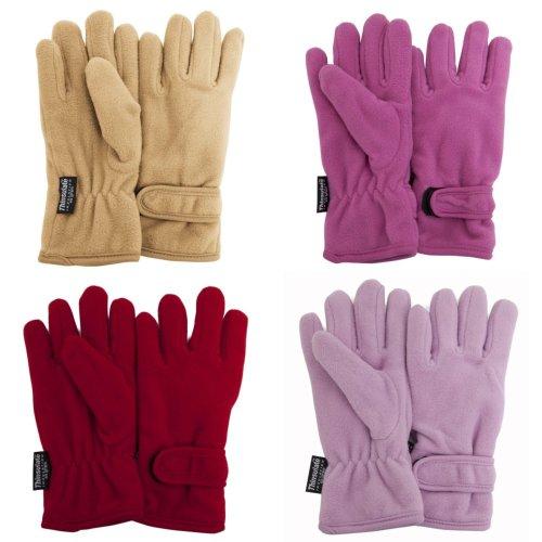 FLOSO Girls Childrens/Kids Plain Thermal Thinsulate Fleece Gloves (3M 40g)