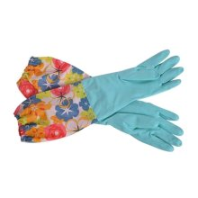 2 Pairs Rubber Cleaning Gloves with Lining Long Dishwashing Gloves, Blue Flower
