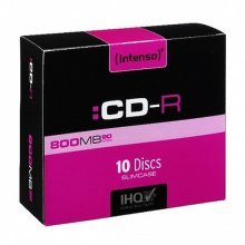 Intenso CD-R, 800MB/90 Minutes, Multispeed, Slim Case 10 Pack