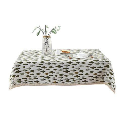 Linen Tablecloth Decorative Square Rectangular Table Cloth Cover-130x180cm, Pine Forest