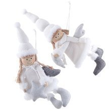 Pair of Large Hanging White & Silver Fabric Angel Christmas Decorations