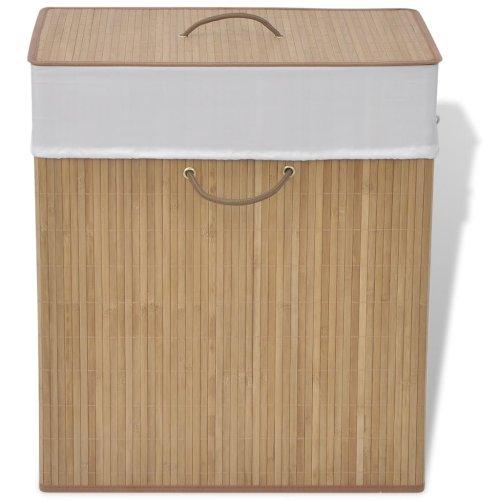 vidaXL Bamboo Laundry Bin Rectangular Natural Washing Clothes Storage Hamper