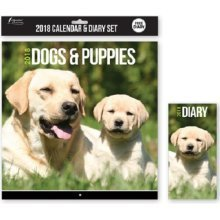 2018 Dogs & Puppies Wall Calendar & Diary Christmas Birthday Gift Square Home Office Cute Puppy Animals