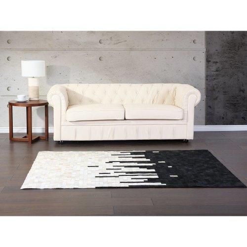 Carpet black - cream - rug - leather - BOLU