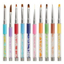1Pcs Crystal Gradient Nail Art Pen Gel Nylon Hair Brush