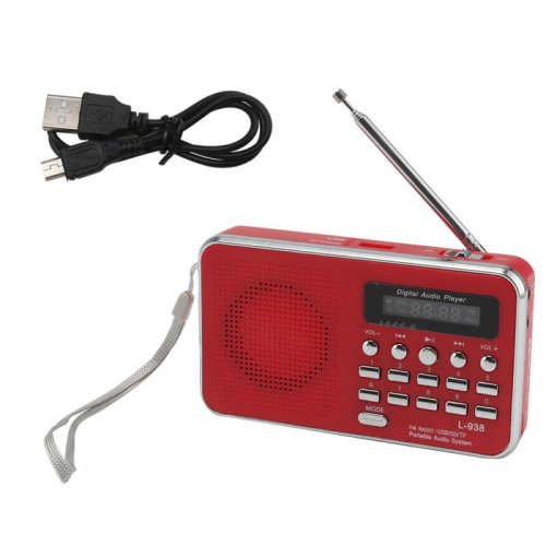 Portable Pocket LCD Digital AM FM Radio Speaker USB AUX TF MP3 Player FlashLight