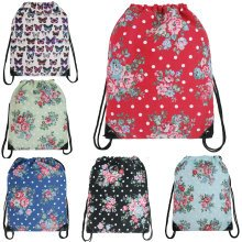 KONO Drawstring Backpack Flower Canvas School Bag