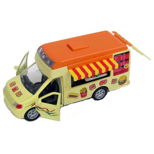 Dining Car With Sound And Light Orange Top Fast Food Car Alloy Car