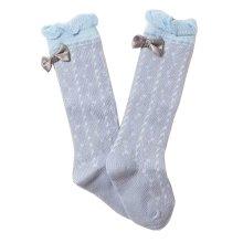 Lovely Baby Knee High Stockings Tube Socks for Children Bow Gray