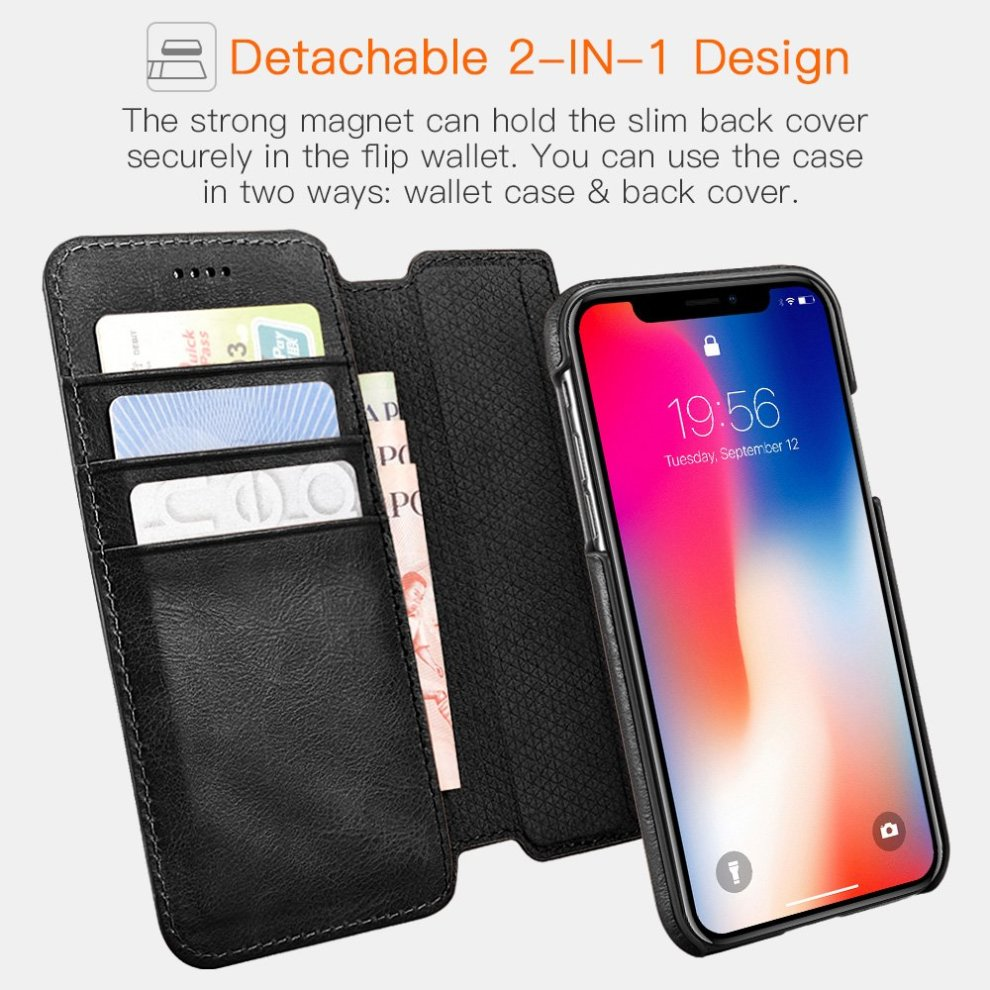 size 40 950be 09549 Icarer iPhone X Case, Detachable Genuine Leather Wallet Case [Detachable  Folio] Flip Folio Book Cover with Card&Cash Slots Kickstand Feature and...