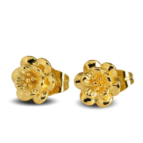 4d81c6704816fc Blue Diamond Club - 24ct Gold Filled Small Blossom Stud Earrings Flower Girls  Womens on OnBuy