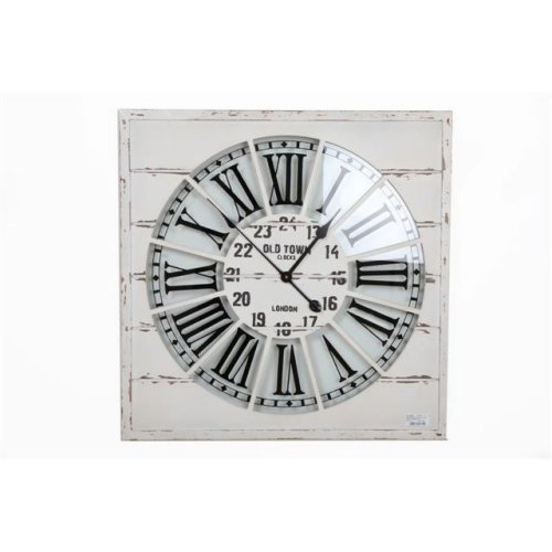 68Cm Rustic Square Wooden Wall Clock Roman Numbers