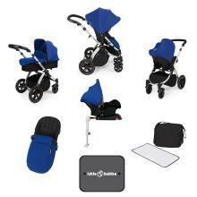 Ickle Bubba Stomp V3 All-in-1 Travel System & Isofix Base - Blue/silver