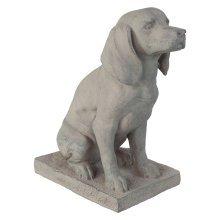Grey Stone Look Fibreclay 46cm Sitting Pointer Dog Garden Statue Ornament