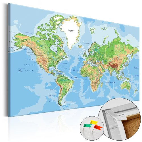 Decorative Pinboard - World Geography [Cork Map]