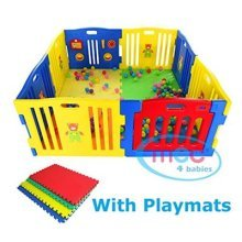 MCC Plastic Baby Playpen with Activity panel & Floor Mats 8 Sides (Blue/Red/Yellow)