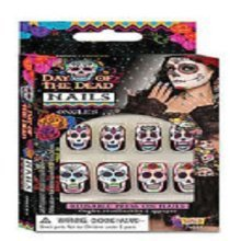 Day Of The Dead Fake Nails Set -  day dead nails fancy dress accessory halloween party fake costume DAY OF THE DEAD NAILS HALLOWEEN SKELETON ZOMBIE