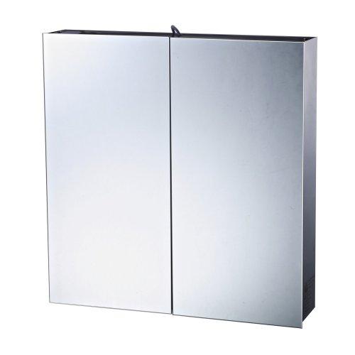 Homcom Double Door Bathroom Cabinet Mirror Stainless Steel 3 Shelves