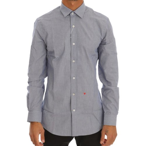 Moschino Blue Striped Cotton Slim Fit Dress Shirt