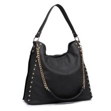 (Black) Miss Lulu Women's Studded Hobo Shoulder Tote Bag