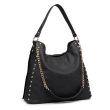(Black) Miss Lulu Women's Studded Hobo Shoulder Tote Bag