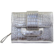 PU Vintage Style Wallet Purse Pouch Bag Card Holder Multifunctional, Silver