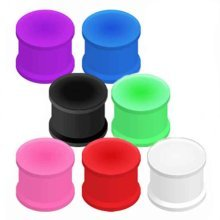 Urban Male Pack of Seven Flexible Silicone Ear Stretching Saddle Plugs Flared 3mm
