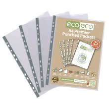 A4 PREMIER CLEAR PUNCHED POCKETS SLEEVE WALLETS ECO011