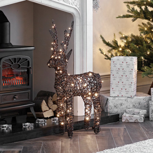 Rattan LED Reindeer Christmas Light Figure | Light Up Indoor & Outdoor Reindeer