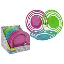 9.75' Spiral Design Neon Coloured Plates - 3 Assorted Colours. -  975 spiral design neon coloured plates 3 assorted colours