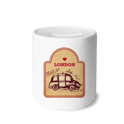 Car UK London Stamp Britain Money Box Saving Banks Ceramic Coin Case Kids Adults