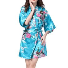 Charming Women Bathrobe Blossoms Peacock Kimono Silk Robes Gown-Blue