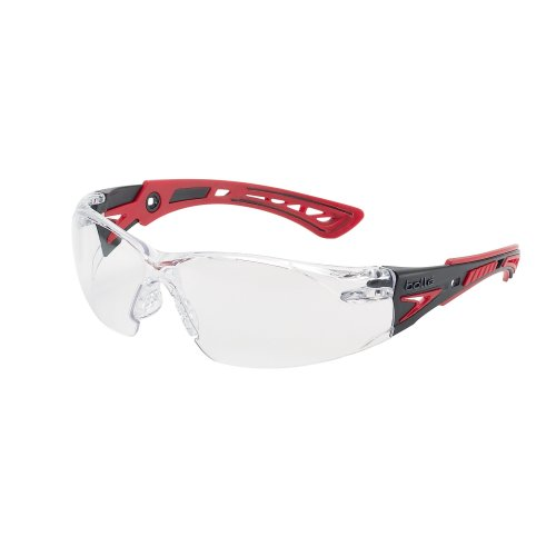 Bolle RUSH+ RUSHPPSI Safety Glasses - Red/Black Temples Clear Lens