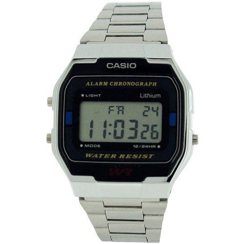 CASIO Gents-Mens Digital Chronograph Silvertone Metal Bracelet Watch A163WA-1QE