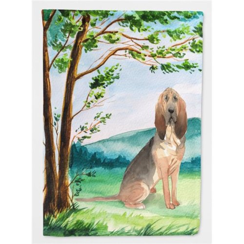 Carolines Treasures CK2581CHF Under the Tree Bloodhound Flag Canvas House Size