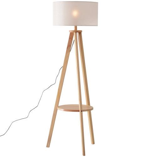 HOMCOM Free Standing Floor Lamp Bedside Light Tripod Holder Storage Shelf Linen Shade Cozy Cream