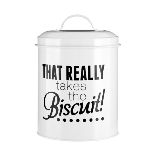 Pun and Games Biscuit Canister, White