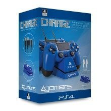 4gamers Dual Charge Stand for Playstation 4 Ps4 Blue