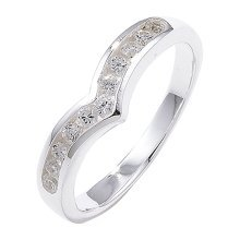 Sterling Silver Channel Set Wishbone Cubic Zirconia Ring - Size O