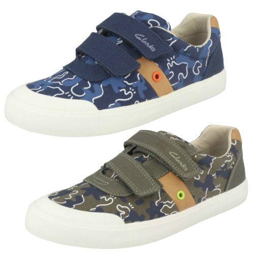 Boys Clarks Canvas Shoes Comic Zone - F Fit