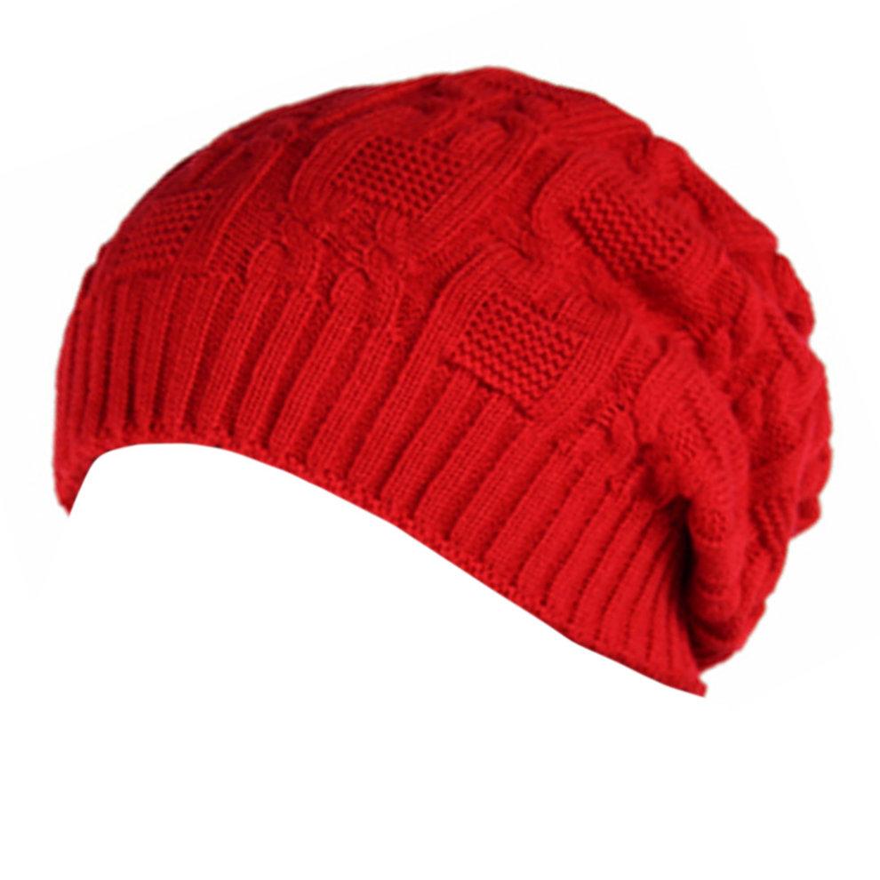 Trendy Winter Warm Cap Chunky Soft Villus Cap Knit Hat Slouchy Beanie Red  ... 87666e28cca