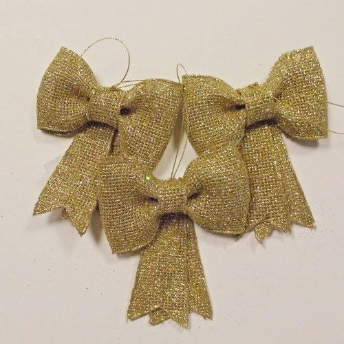 Set of 3 Gold Glitter Bows - 11cm - Christmas Tree Home Decoration