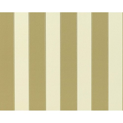 EDEM 947-21 Block stripe non-woven wallpaper cream-white olive-green | 10.65 sqm
