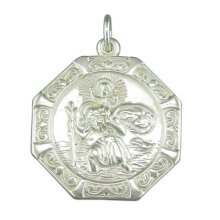 Mens Sterling Silver Medium Octagonal St Christopher Pendant On A Black Leather Cord Necklace