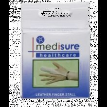Large Medisure Leather Finger Stall -  leather finger stall medisure large soft protection sprain injury support first aid dressing sweating