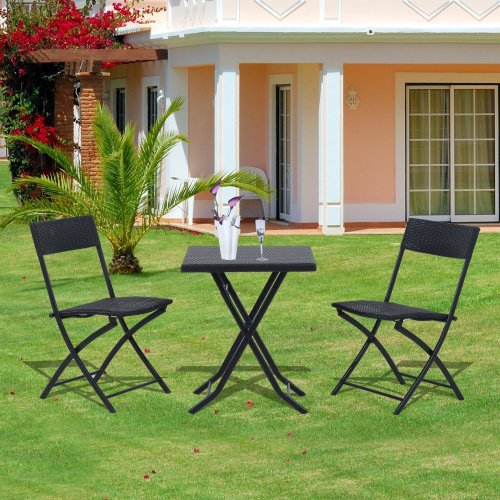 Outsunny Black Rattan Garden Bistro Set | 2-Seater Table & Chair Set