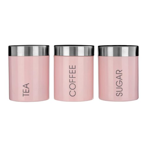 3pc Liberty Pink Enamel Canister Set | Tea, Coffee & Sugar Jars