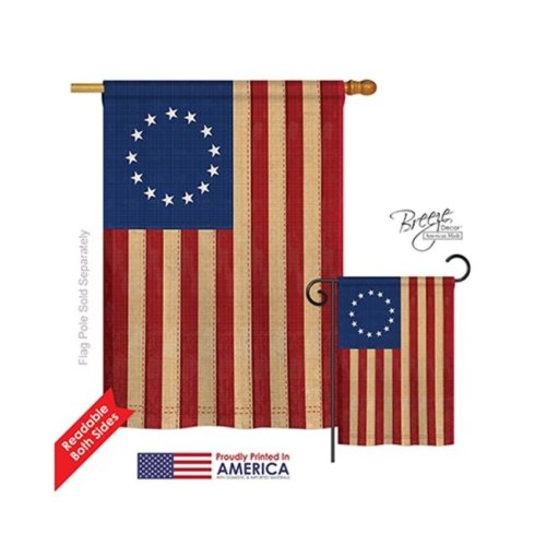 Breeze Decor 08068 Historic Betsy Ross Vintage 2-Sided Vertical Impression House Flag - 28 x 40 in.