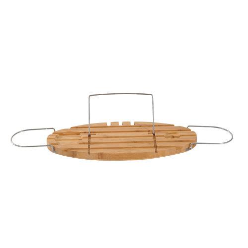HOMCOM Extendable Bamboo Bathtub Shelf Rack Bath Caddy Tray Bathroom Storage with Book iPad Stand Wine Glass Holder